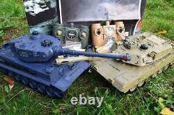 2.4ghz Large Rc Twin Battle Tank Rc Radio Remote Contrôle Abrams M1-a2 Vs Tiger-i