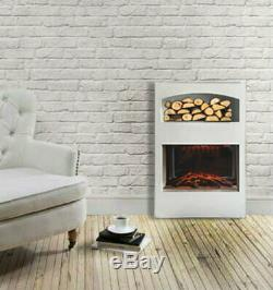 2kw Blanc Cheminée Électrique Suite Encart Effet Led Flamme Log Magasin De Verre Moderne