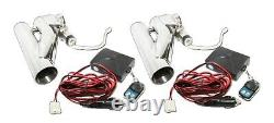 2x 2.5od 63mm Electric Control Cutout Dual Downpipe System Y Pipe Withremote Kit