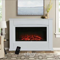 34 405060 Mur De Cheminée Monté Led Flamme Blanche Mantel Electric Insert Fire