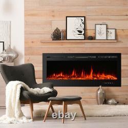 36 50 Réglable Mur Chauffant Cheminée Électrique Mont 9 Couleur Flamme Avec Télécommande