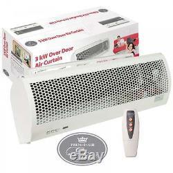 3kw Électrique Au-dessus De Porte Chauffante De Ventilateur De Rideau D'air Chaud Thermique Op Thermique + À Télécommande