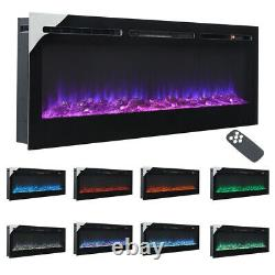 40/50/60 Cheminée Led Wall Build In Insert Electric Fire 9 Ou 12 Colour Flames