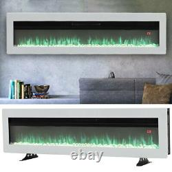 40/50/60 Pouces Led Electric Fire Insert Mural Mounted Fireplace With Crystal &legs