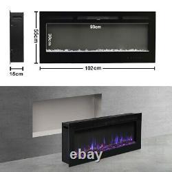 40 Pouces Flames Numérique Insert Murale En Verre Électrique Cheminée Connexion / Cristal