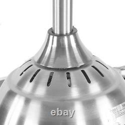 42'' Ventilateur De Plafond Lumière Led Réglable Lampe À Lame Rétractable À Distance Minuterie