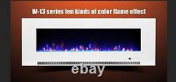 50 60 72 82 Pouces Led Digital Flames White Black Inset Wall Mounted Electric Fire