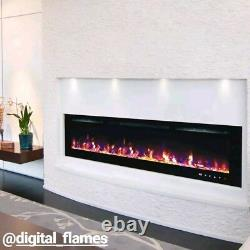 50 60 72 Pouces Led Digital Flames Black Inset Wall Mounted Electric Fire 2021