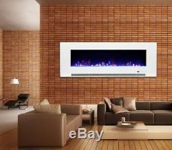 50 60 Feu Électrique Mural En Verre Blanc Noir De Led'digital Flames