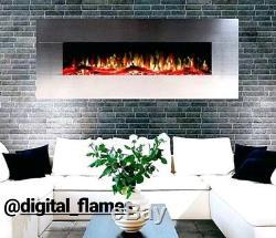 50 60 Pouces De Luxe Led Flammes Numérique Mur En Acier Inoxydable Monté Feu Électrique