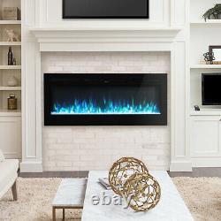 50/60 Pouces Électrique Led Cheminée Insert/wall Mount Fire Heater +télécommande