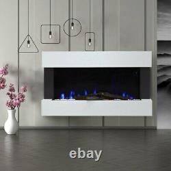 50 Dans Led Flame Glass Fireplace White Mantel Electric Fire &downlight Wall Mount
