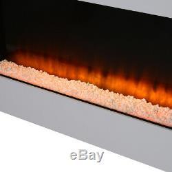 50 De Large Verre Murale Électrique Feu Led Flammes Cheminée Avec Blanc Mantel