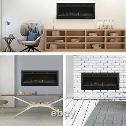 50 Électrique Led Cheminée Mur Inset Fire Wall Mounted Heater 12 Flamme Avecremote