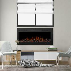 50'' Inch Led Digital Flames White Black Insert Wall Mounted Electric Fire 2021