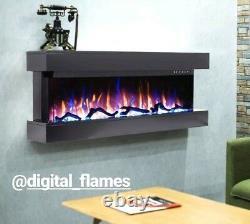 50 Pouces Led Digital Flames White Mantel 3 Faces En Verre Mural À Montage Électrique Feu
