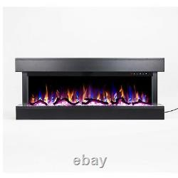 50 Pouces Led Digital Flames White Mantel 3 Sided Glass Wall Mounted Electric Fire