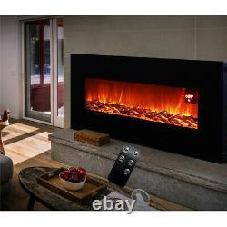 50 Pouces Led Flame Noir Mur À Montage De Feu Électrique Warmer Avec Télécommande Nouveau