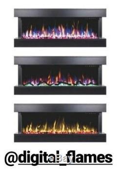 50 Pouces Led'digital Flames Blanc Mantel Verre Murale Électrique Fire 2019
