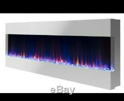 50 Pouces Numérique Black Flames Recess Murale Électrique Feu 3 Sided Fish Tank