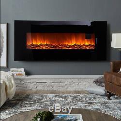 50in Wide Wall Black Fire Électrique Monté En Verre Plat Suspendu Cheminée + Télécommande