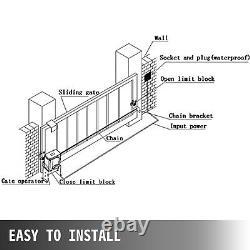 600kg Automatic Sliding Gate Opener Kit Porte Électrique 2 Clés Avec 4m Racks 220v