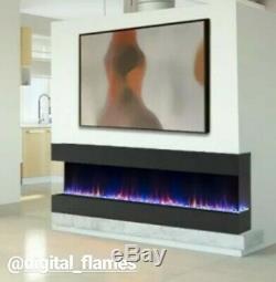 60 Pouces Numérique Black Flames Recess Murale Électrique Feu 3 Sided Fish Tank