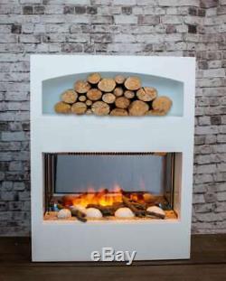 70cm Blanc Foyer Électrique En Bois Connexion Armoire De Rangement Chauffe Effet Flamme 3d