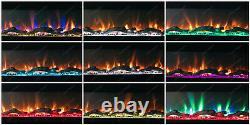 78 Pouces De Large Led Flames Black Glass Wall Flushed Inset Electric Fire 2021 Modèle