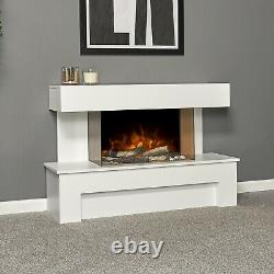 Adam Havanna White Fireplace Suite Electric Fire Log Heater Heating Flame Effect