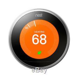 Apprentissage Google Thermostat Nest 3ème Génération (acier Inoxydable) Avec 2 Pack Wi-fi