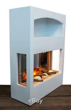 Blanc Cheminée Électrique Suite Pebble Feu Décor 3d Encart Flamme Connexion Magasin Moderne