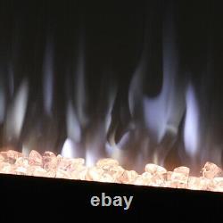 Cheminée À Feu Électrique 40 Pouces Murale Et Murale 9 Led Flame Chauffe Télécommande