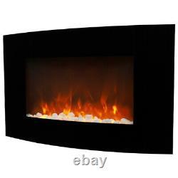 Cheminée Électrique 35 Murs Montés Inserts Pebble Led Fire Flame Heater Incurvé