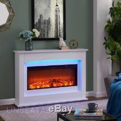 Cheminée Électrique Élégante Blanche Ou Noire Avec Télécommande, Design Traditionnel