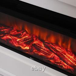 Cheminée Électrique Insérée Maison Living Heater White Frame & Fire Core+ Remote
