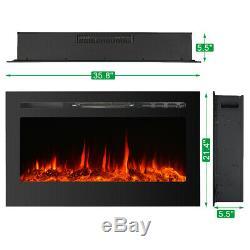 Cheminée Électrique Insert Support Mural Chauffe-mont Flamme Réglable 36 50 Noir