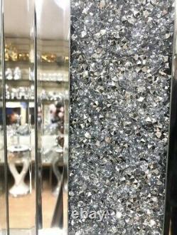 Cheminée Mur Hung Broyé Diamant Miroir Verre Sparkly 130x20x55cm