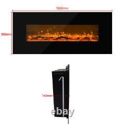Cheminée Mur Monté Electric Fire Black Flat Glass With Remote Control Uk