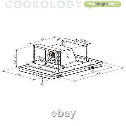 Cookology Cei100wh 100cm White Ceiling Island Cooker Hood & Extractor Fan Remote