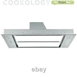 Cookology Cei110wgp 110cm White Glass Ceiling Island Cooker Hood & Remote