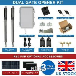 DC House Double Solar Gate Opener Door Kit Swing Electric Operator Jusqu'à 16ft