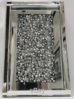 Diamant Brûlant Cristal Brillant Argenté Miroir Électrique Cheminée Et Encadrement