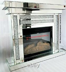 Diamond Crush Crystal Sparkly Silver Mirrored Electric Led Fireplace Damage
