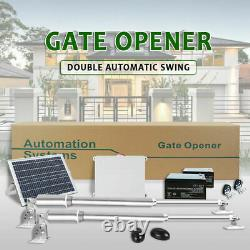 Double Swing Automatic Gate Opener Kit 600kg Télécommande Batterie De Panneau Solaire