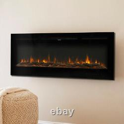Electric 50inch Wall Mounted Fireplace Insert Led Fire Place Heater Living Room