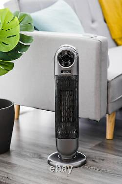 Électrique 2000w Tour 90° Ventilateur Oscillant Céramique Ptc Thermomètre Numérique Remote
