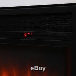 Encastré Foyer Électrique De Base Insert Mur Panneau Noir Avec Des Incendies À Distance