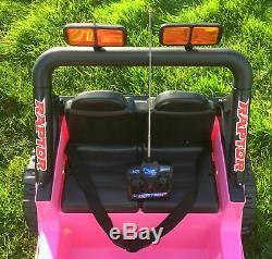 Enfants 12v Raptor Ride Electrique Sur Voiture 4x4 Jeep Télécommande 2 Places Rose