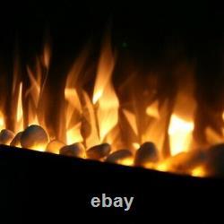 Ezee Glow Grand Zara Mur Noir Monté Ou Encastré / Construit Dans Le Feu Électrique